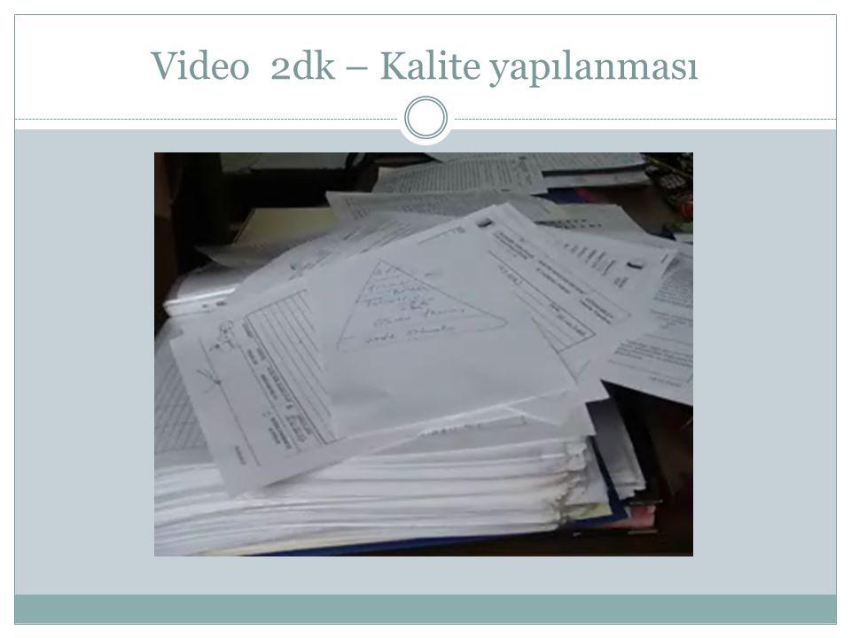 Video 2dk – Kalite yapılanması