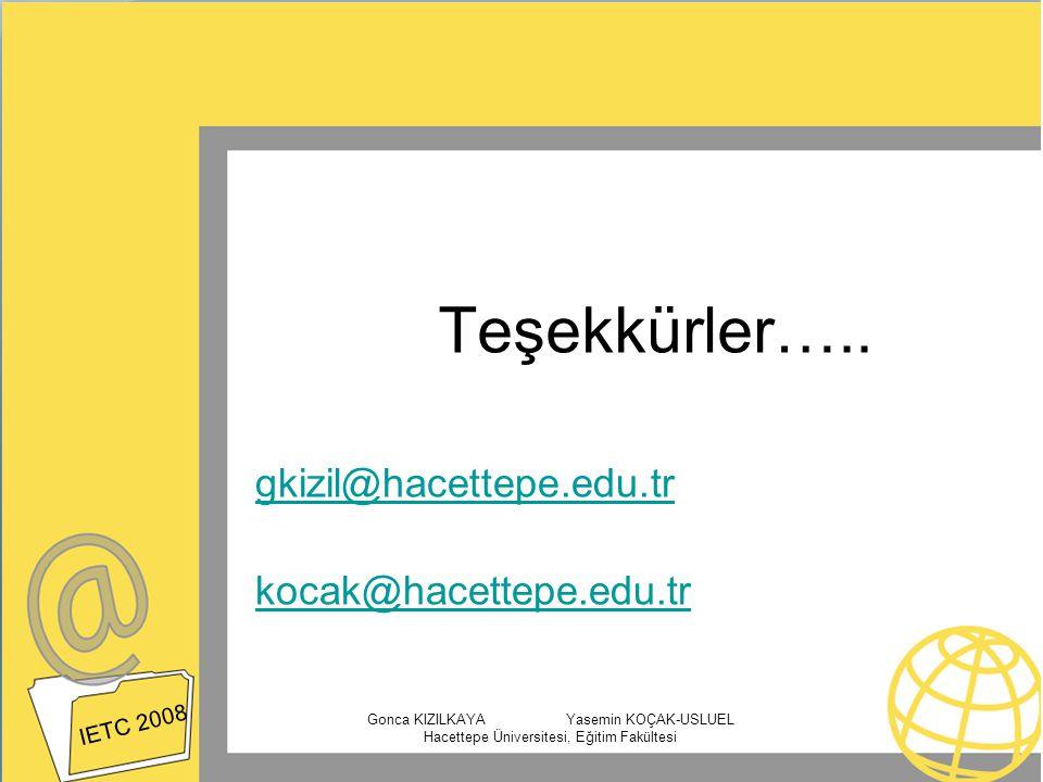 gkizil@hacettepe.edu.tr kocak@hacettepe.edu.tr IETC 2008 Gonca KIZILKAYA Yasemin KOÇAK-USLUEL Hacettepe Üniversitesi, Eğitim Fakültesi Teşekkürler…..