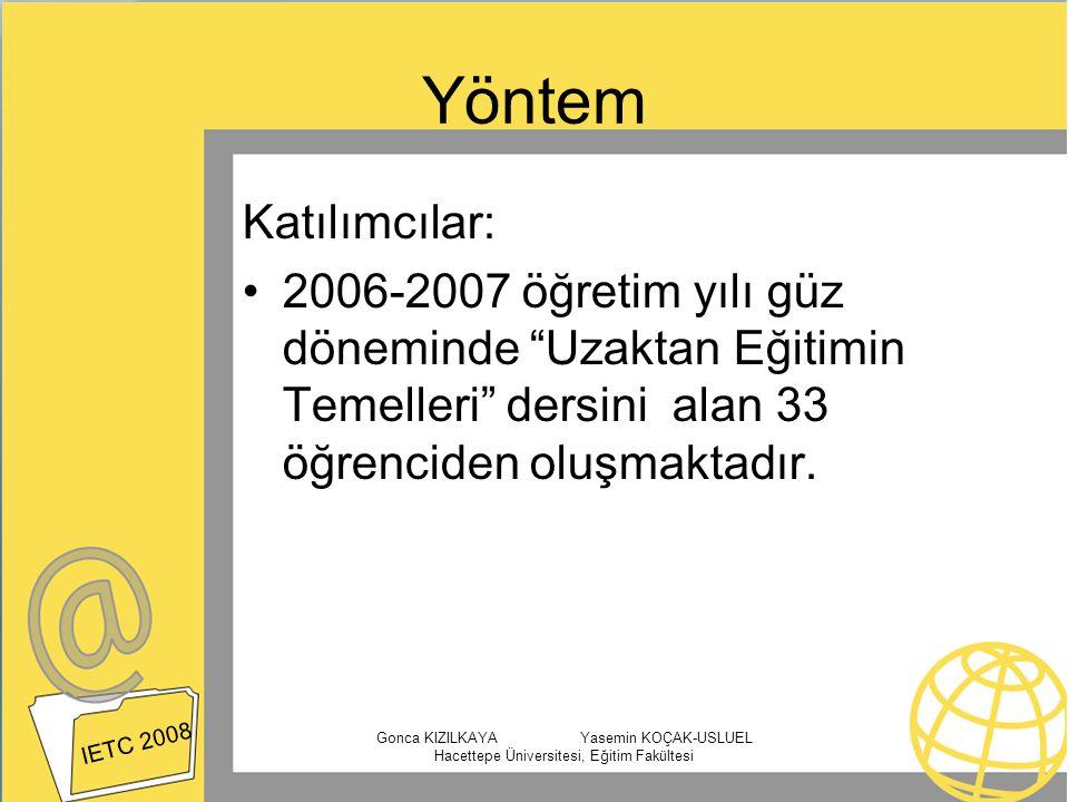"""Yöntem Katılımcılar: 2006-2007 öğretim yılı güz döneminde """"Uzaktan Eğitimin Temelleri"""" dersini alan 33 öğrenciden oluşmaktadır. IETC 2008 Gonca KIZILK"""