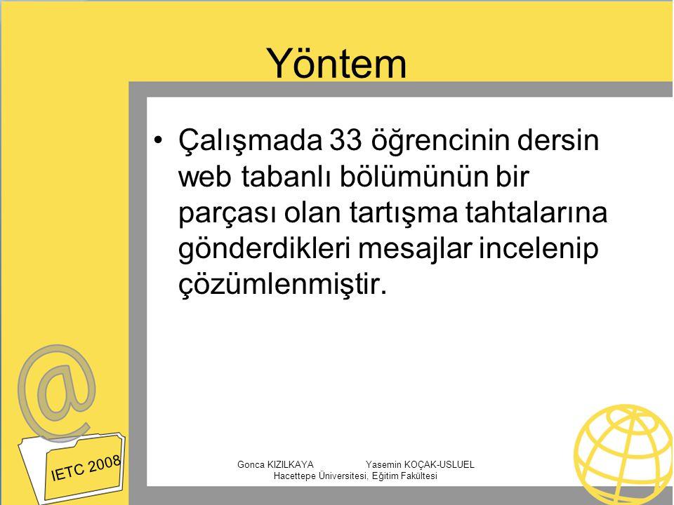 Yöntem Çalışmada 33 öğrencinin dersin web tabanlı bölümünün bir parçası olan tartışma tahtalarına gönderdikleri mesajlar incelenip çözümlenmiştir. IET