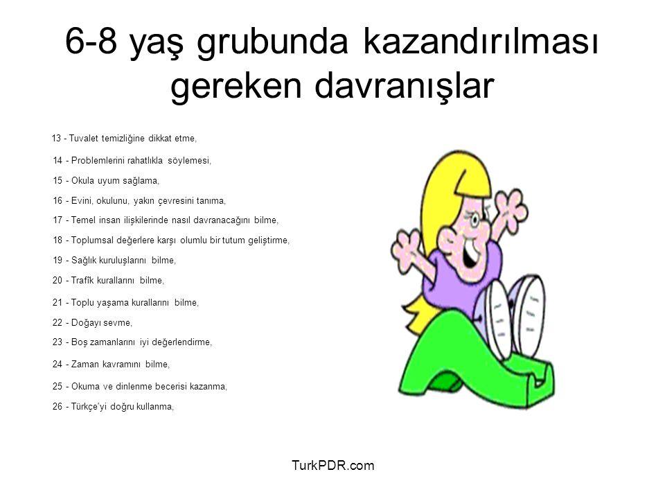 TurkPDR.com 13 - Tuvalet temizliğine dikkat etme, 14 - Problemlerini rahatlıkla söylemesi, 15 - Okula uyum sağlama, 16 - Evini, okulunu, yakın çevresi