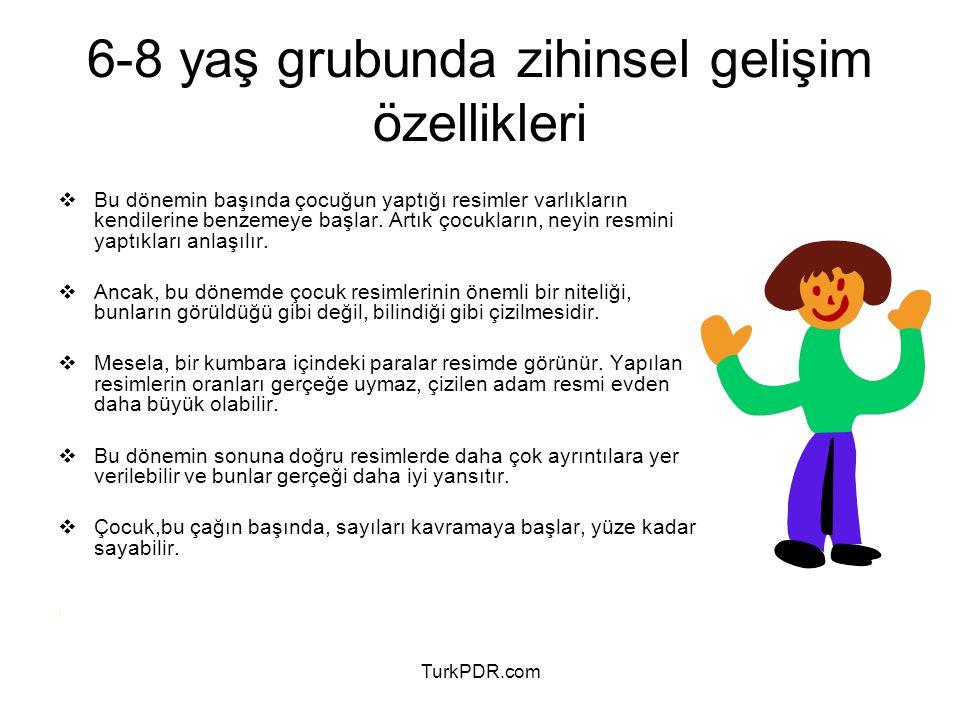 TurkPDR.com 6-8 yaş grubunun psikolojik özellikleri Bu yaşlarda çocuklar oyun çağının birçok özelliklerini gösterir, 6 yaş zihni ve duygusal gelişmeler bakımından okula devam edebilecek kadar olgun olunan bir yaştır.