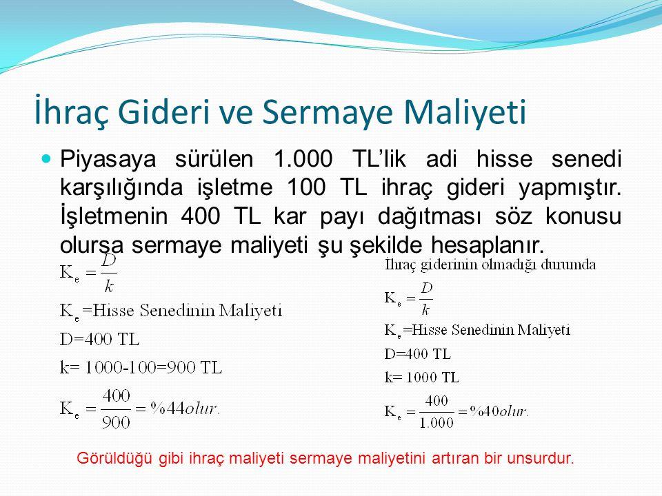 İhraç Gideri ve Sermaye Maliyeti Piyasaya sürülen 1.000 TL'lik adi hisse senedi karşılığında işletme 100 TL ihraç gideri yapmıştır. İşletmenin 400 TL