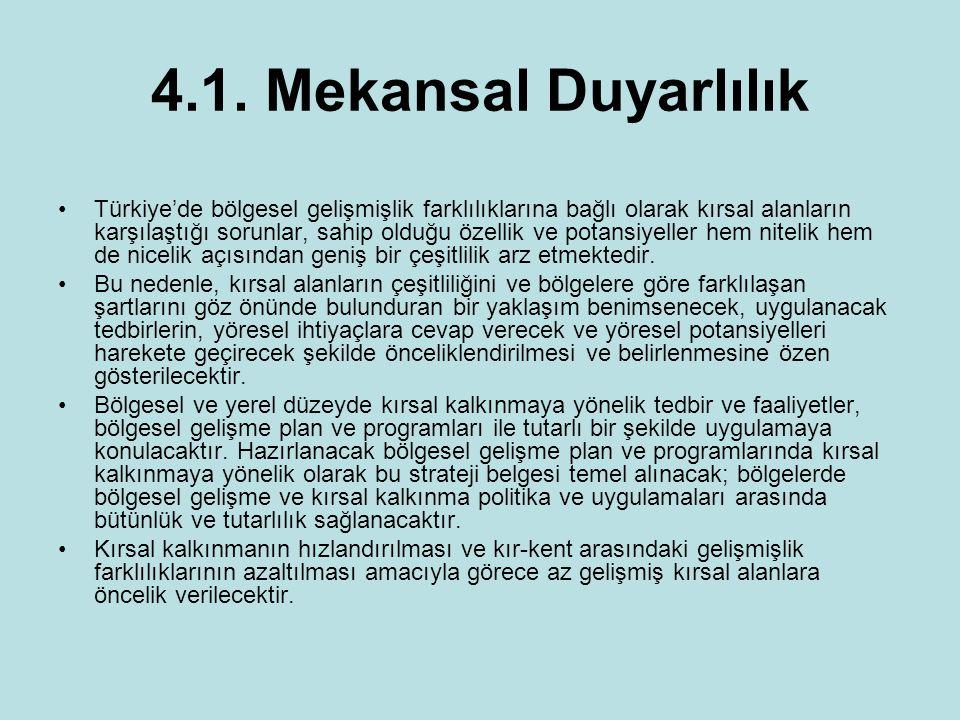 4.1. Mekansal Duyarlılık Türkiye'de bölgesel gelişmişlik farklılıklarına bağlı olarak kırsal alanların karşılaştığı sorunlar, sahip olduğu özellik ve