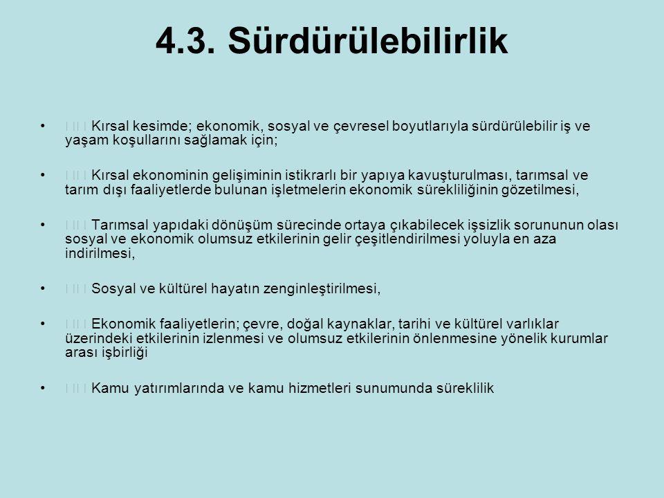 4.3. Sürdürülebilirlik Kırsal kesimde; ekonomik, sosyal ve çevresel boyutlarıyla sürdürülebilir iş ve yaşam koşullarını sağlamak için; Kırsal ekonomin