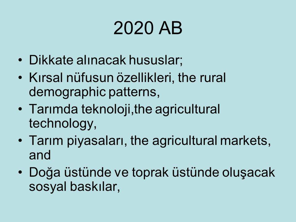 2020 AB Dikkate alınacak hususlar; Kırsal nüfusun özellikleri, the rural demographic patterns, Tarımda teknoloji,the agricultural technology, Tarım pi