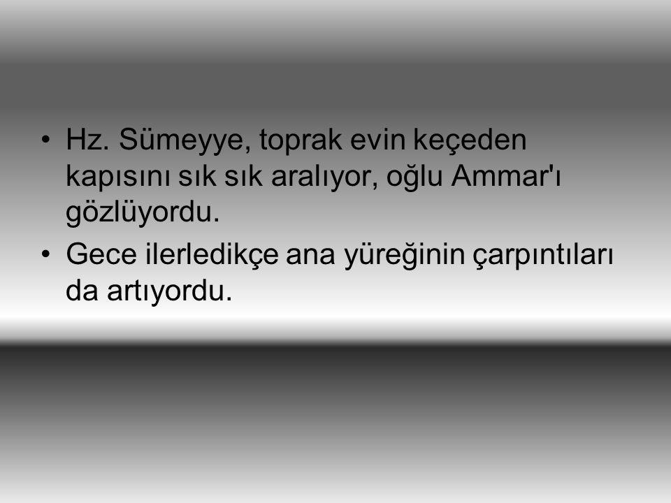Hz. Sümeyye, toprak evin keçeden kapısını sık sık aralıyor, oğlu Ammar'ı gözlüyordu. Gece ilerledikçe ana yüreğinin çarpıntıları da artıyordu.