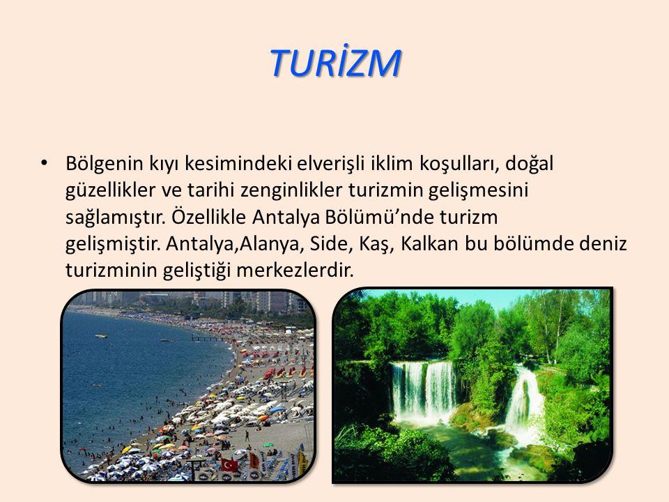 TURİZM Bölgenin kıyı kesimindeki elverişli iklim koşulları, doğal güzellikler ve tarihi zenginlikler turizmin gelişmesini sağlamıştır.