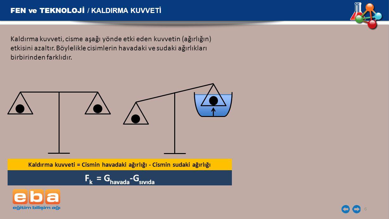 FEN ve TEKNOLOJİ / KALDIRMA KUVVETİ 6 Kaldırma kuvveti, cisme aşağı yönde etki eden kuvvetin (ağırlığın) etkisini azaltır. Böylelikle cisimlerin havad