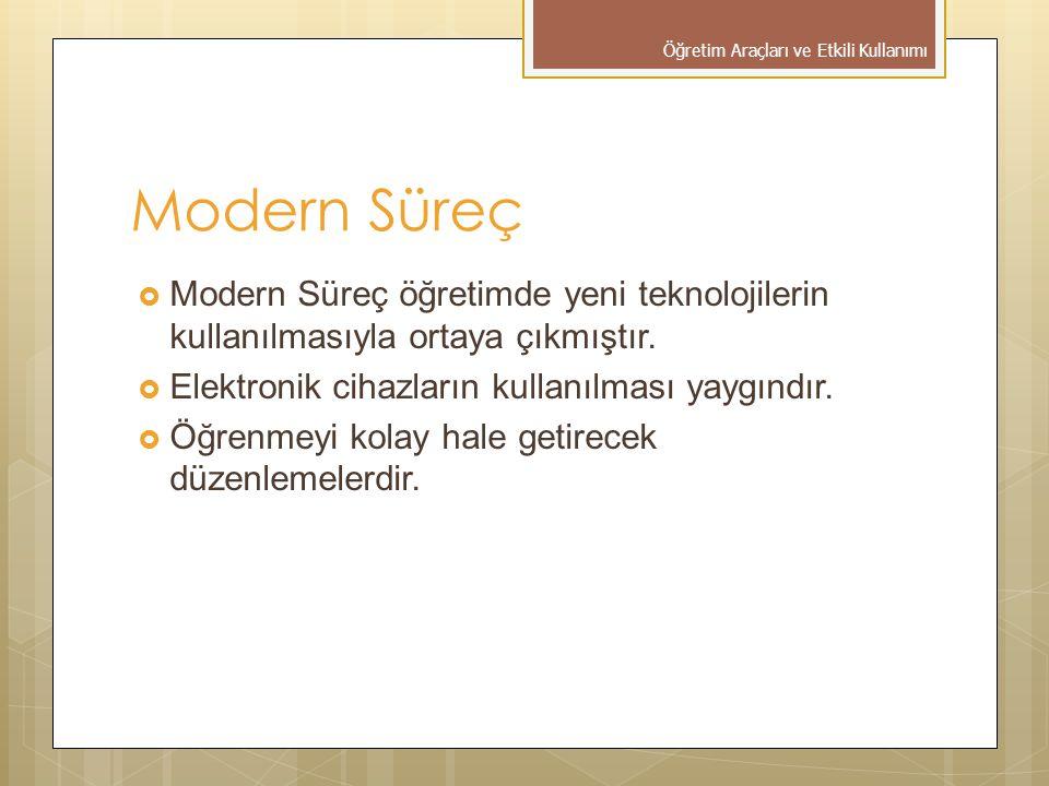 Modern Süreç  Modern Süreç öğretimde yeni teknolojilerin kullanılmasıyla ortaya çıkmıştır.  Elektronik cihazların kullanılması yaygındır.  Öğrenmey