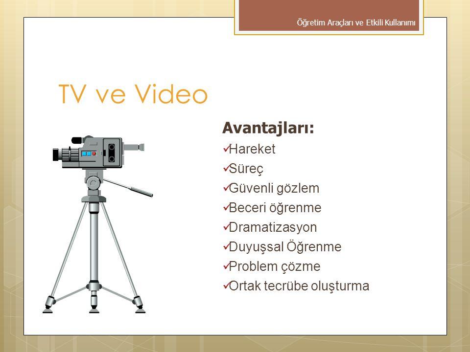 Avantajları: Hareket Süreç Güvenli gözlem Beceri öğrenme Dramatizasyon Duyuşsal Öğrenme Problem çözme Ortak tecrübe oluşturma TV ve Video Öğretim Araç