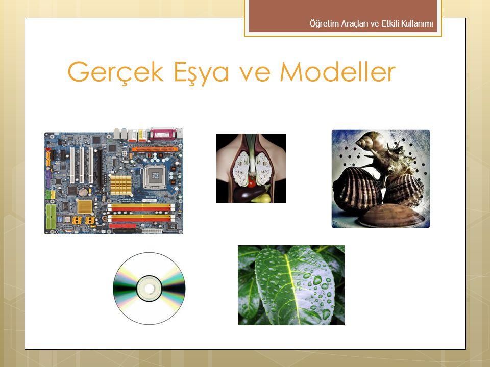 Gerçek Eşya ve Modeller Gerçek eşyalar; Somut ve kalıcı öğrenmeler sağlar Genellemeyi kolaylaştırır Bireysel olarak eğitim sağlar.