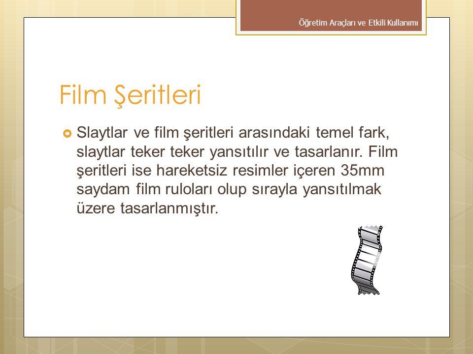 Film Şeritleri  Slaytlar ve film şeritleri arasındaki temel fark, slaytlar teker teker yansıtılır ve tasarlanır. Film şeritleri ise hareketsiz resiml