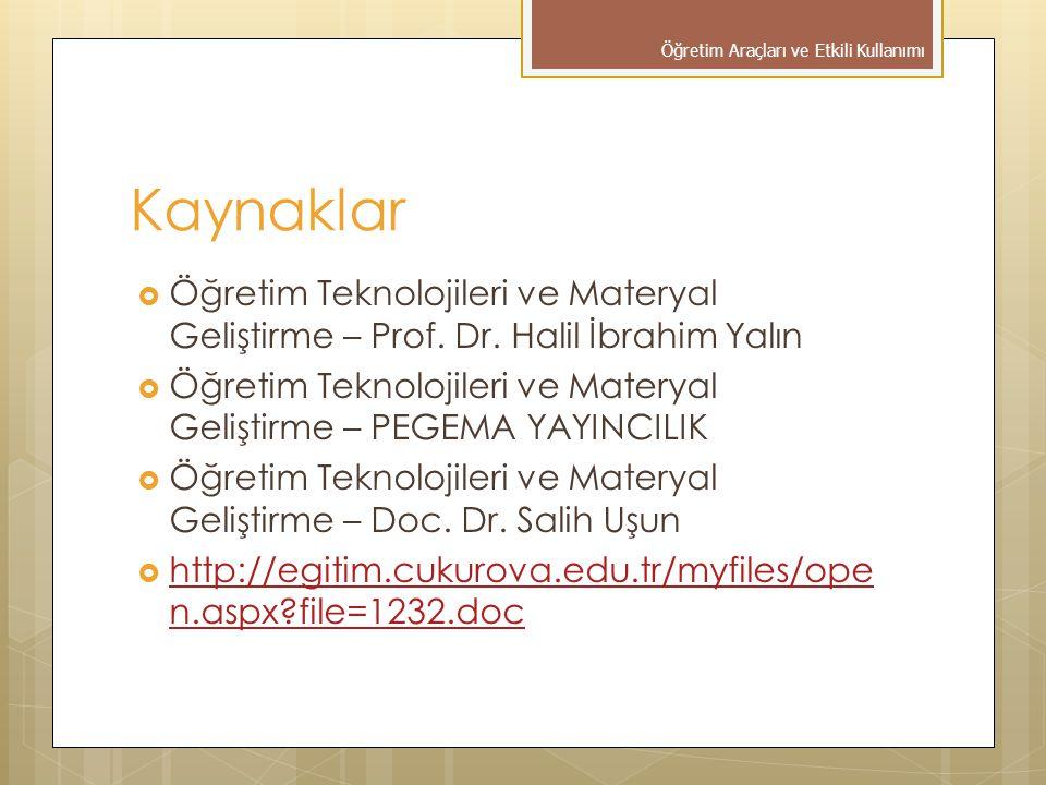 Kaynaklar  Öğretim Teknolojileri ve Materyal Geliştirme – Prof. Dr. Halil İbrahim Yalın  Öğretim Teknolojileri ve Materyal Geliştirme – PEGEMA YAYIN