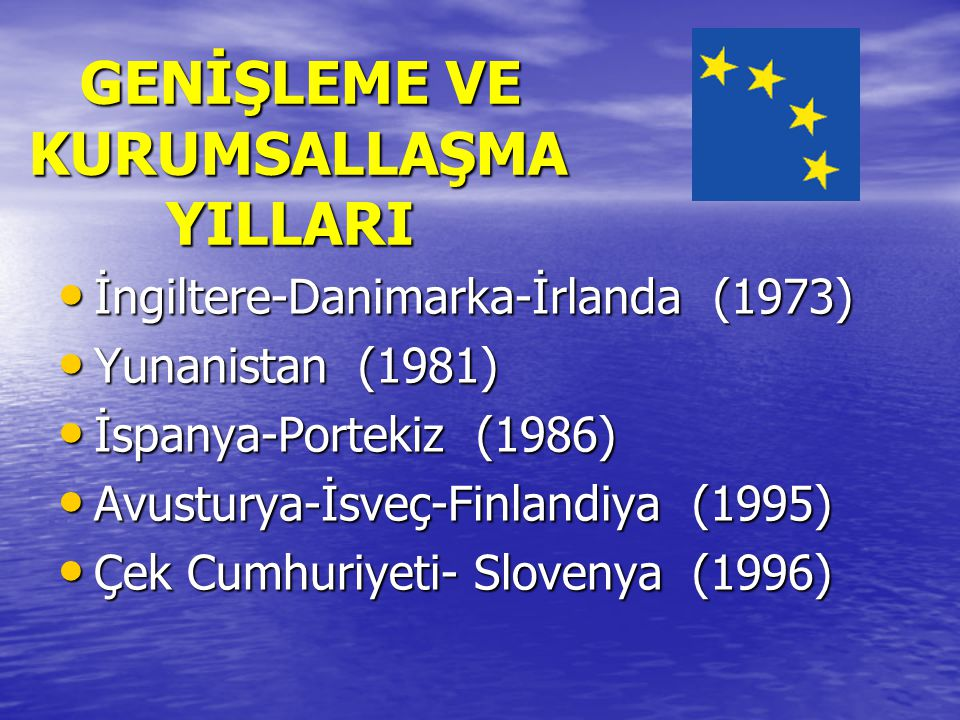 GENİŞLEME VE KURUMSALLAŞMA YILLARI GENİŞLEME VE KURUMSALLAŞMA YILLARI İngiltere-Danimarka-İrlanda (1973) İngiltere-Danimarka-İrlanda (1973) Yunanistan (1981) Yunanistan (1981) İspanya-Portekiz (1986) İspanya-Portekiz (1986) Avusturya-İsveç-Finlandiya (1995) Avusturya-İsveç-Finlandiya (1995) Çek Cumhuriyeti- Slovenya (1996) Çek Cumhuriyeti- Slovenya (1996)