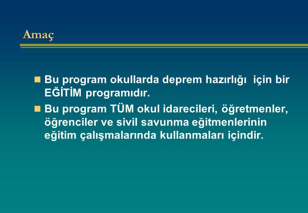Amaç Bu program okullarda deprem hazırlığı için bir EĞİTİM programıdır.