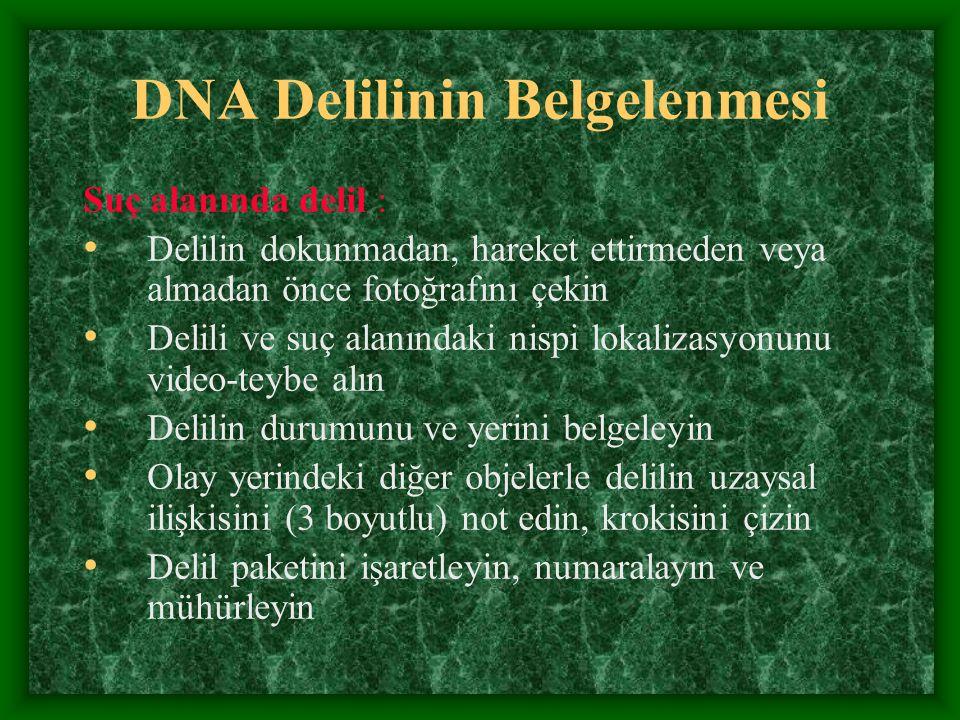 DNA Delilinin Belgelenmesi Suç alanında delil : Delilin dokunmadan, hareket ettirmeden veya almadan önce fotoğrafını çekin Delili ve suç alanındaki ni