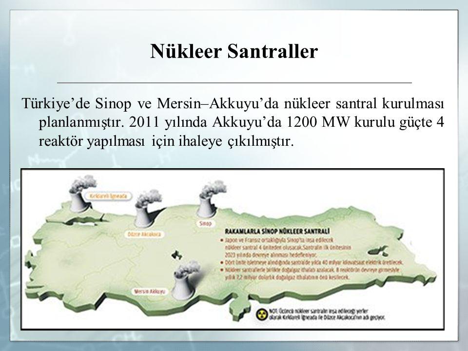 Nükleer Santraller Türkiye'de Sinop ve Mersin–Akkuyu'da nükleer santral kurulması planlanmıştır. 2011 yılında Akkuyu'da 1200 MW kurulu güçte 4 reaktör