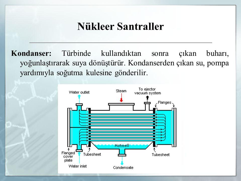 Nükleer Santraller Kondanser: Türbinde kullandıktan sonra çıkan buharı, yoğunlaştırarak suya dönüştürür. Kondanserden çıkan su, pompa yardımıyla soğut