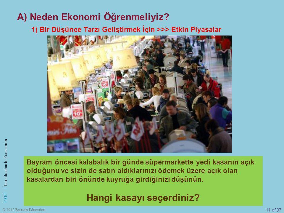 11 of 37 PART I Introduction to Economics © 2012 Pearson Education A) Neden Ekonomi Öğrenmeliyiz? 1) Bir Düşünce Tarzı Geliştirmek İçin >>> Etkin Piya