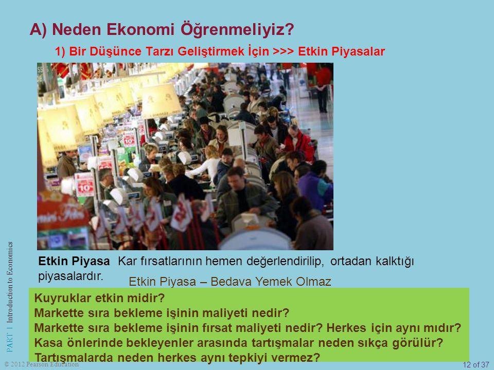 12 of 37 PART I Introduction to Economics © 2012 Pearson Education Etkin Piyasa – Bedava Yemek Olmaz Etkin Piyasa Kar fırsatlarının hemen değerlendiri