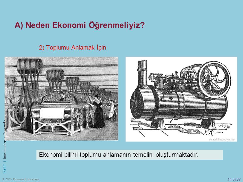 14 of 37 PART I Introduction to Economics © 2012 Pearson Education 2) Toplumu Anlamak İçin Ekonomi bilimi toplumu anlamanın temelini oluşturmaktadır.