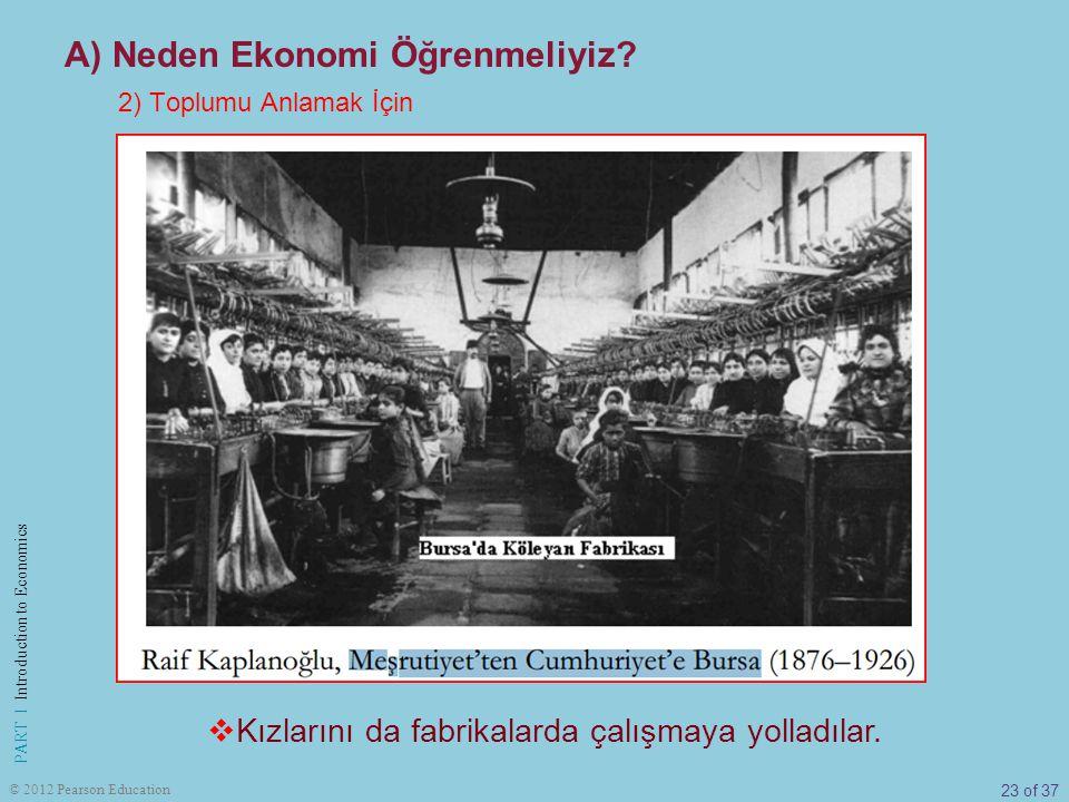 23 of 37 PART I Introduction to Economics © 2012 Pearson Education 2) Toplumu Anlamak İçin A) Neden Ekonomi Öğrenmeliyiz?  Kızlarını da fabrikalarda