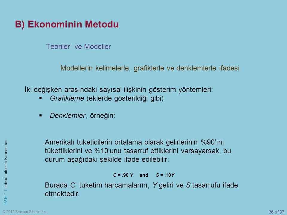 36 of 37 PART I Introduction to Economics © 2012 Pearson Education Modellerin kelimelerle, grafiklerle ve denklemlerle ifadesi Teoriler ve Modeller İk