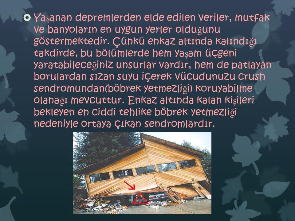  Ya ş anan depremlerden elde edilen veriler, mutfak ve banyoların en uygun yerler oldu ğ unu göstermektedir.