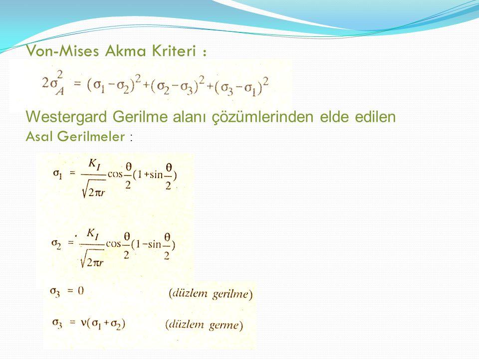 Düzlem gerilme için σ 1 ve σ 2 de ğ erlerini Von Mises Akma kriterinde yerine kondu ğ unda : elde edilir ɵ = 0 oldu ğ u durumda (çatla ğ ın ileri ucu):