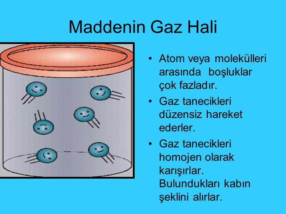 Maddenin Gaz Hali Atom veya molekülleri arasında boşluklar çok fazladır. Gaz tanecikleri düzensiz hareket ederler. Gaz tanecikleri homojen olarak karı