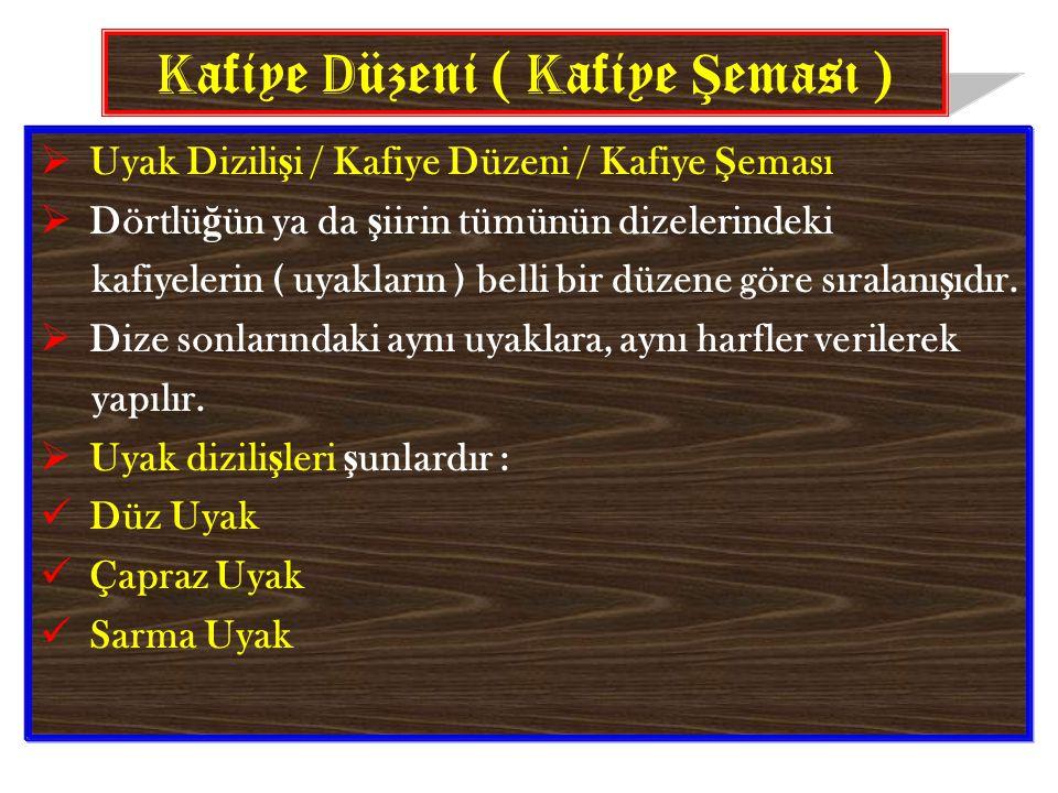 K afiye D üzeni ( K afiye Ş eması )  Uyak Dizili ş i / Kafiye Düzeni / Kafiye Ş eması  Dörtlü ğ ün ya da ş iirin tümünün dizelerindeki kafiyelerin ( uyakların ) belli bir düzene göre sıralanı ş ıdır.