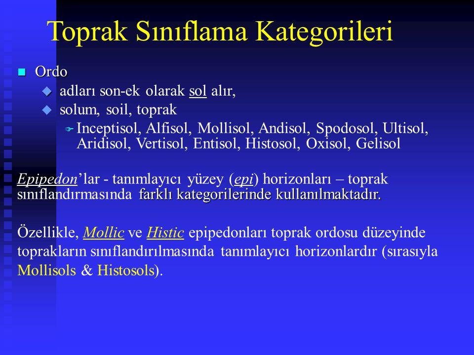 Toprak Sınıflama Kategorileri n Ordo u u adları son-ek olarak sol alır, u solum, soil, toprak F Inceptisol, Alfisol, Mollisol, Andisol, Spodosol, Ulti