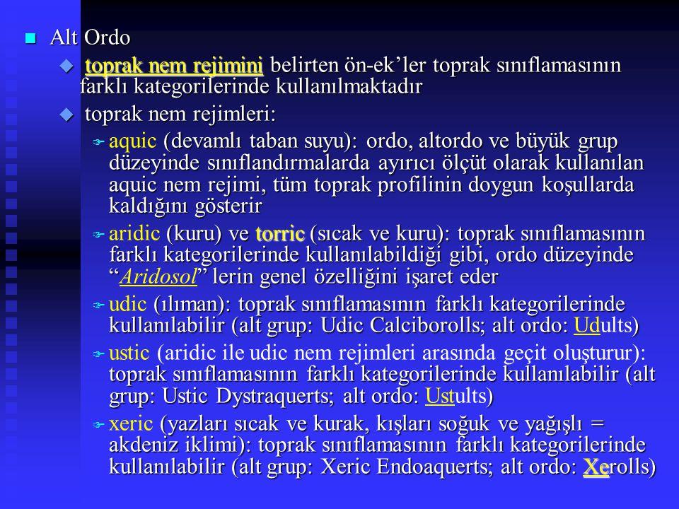 n Alt Ordo u toprak nem rejimini belirten ön-ek'ler toprak sınıflamasının farklı kategorilerinde kullanılmaktadır u toprak nem rejimleri: (devamlı tab