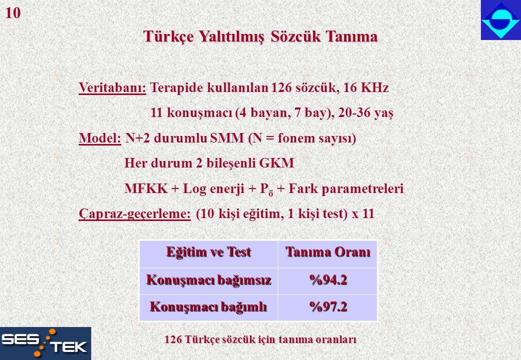Türkçe Yalıtılmış Sözcük Tanıma Veritabanı: Terapide kullanılan 126 sözcük, 16 KHz 11 konuşmacı (4 bayan, 7 bay), 20-36 yaş Model: N+2 durumlu SMM (N