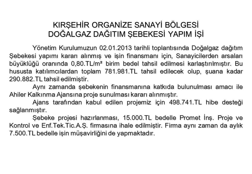 Yönetim Kurulumuzun 02.01.2013 tarihli toplantısında Doğalgaz dağıtım Şebekesi yapımı kararı alınmış ve işin finansmanı için, Sanayicilerden arsaları