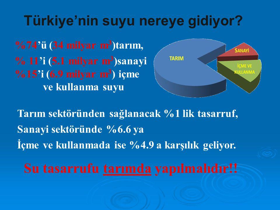 Türkiye'nin suyu nereye gidiyor? %74'ü (34 milyar m 3 )tarım, % 11'i (5.1 milyar m 3 )sanayi %15'i (6.9 milyar m 3 ) içme ve kullanma suyu Tarım sektö