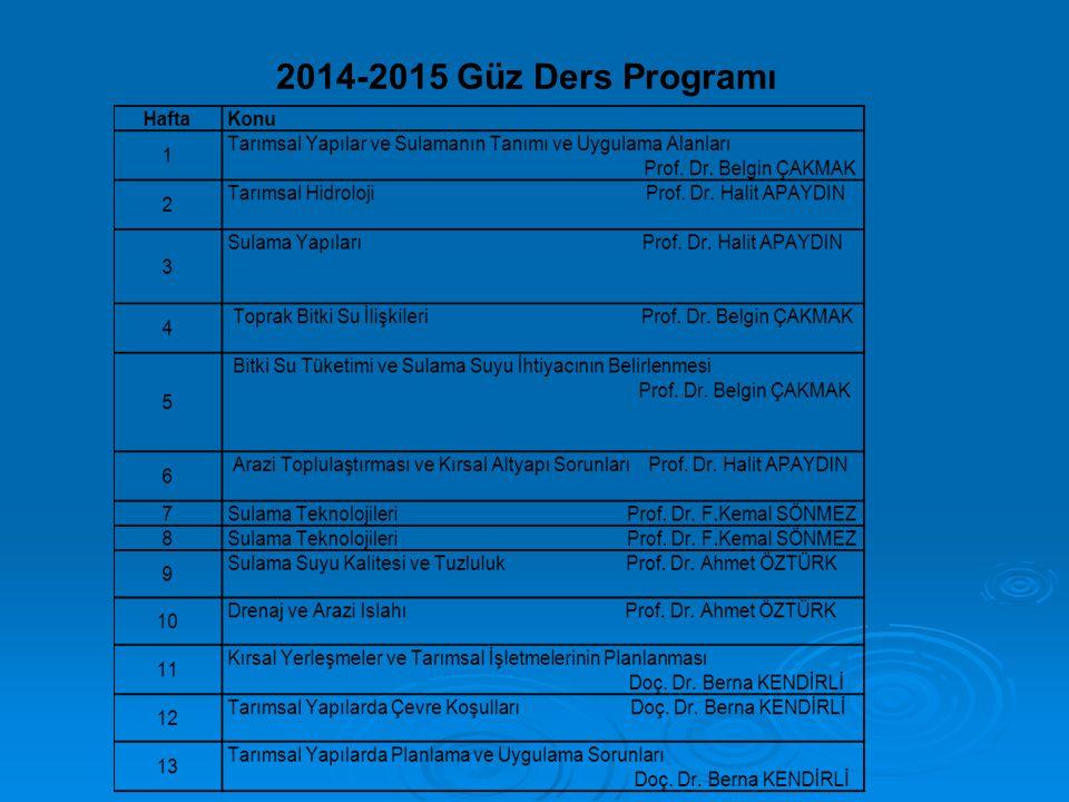 2014-2015 Güz Ders Programı
