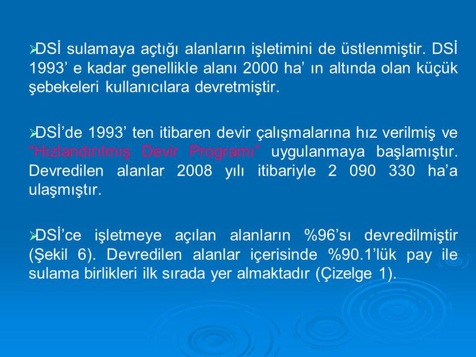   DSİ sulamaya açtığı alanların işletimini de üstlenmiştir. DSİ 1993' e kadar genellikle alanı 2000 ha' ın altında olan küçük şebekeleri kullanıcıla