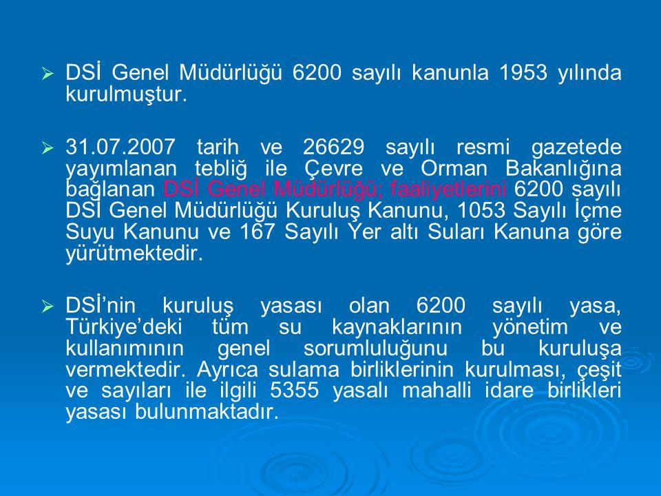   DSİ Genel Müdürlüğü 6200 sayılı kanunla 1953 yılında kurulmuştur.   31.07.2007 tarih ve 26629 sayılı resmi gazetede yayımlanan tebliğ ile Çevre