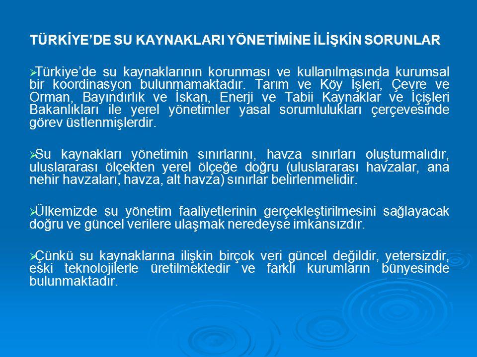 TÜRKİYE'DE SU KAYNAKLARI YÖNETİMİNE İLİŞKİN SORUNLAR   Türkiye'de su kaynaklarının korunması ve kullanılmasında kurumsal bir koordinasyon bulunmamak