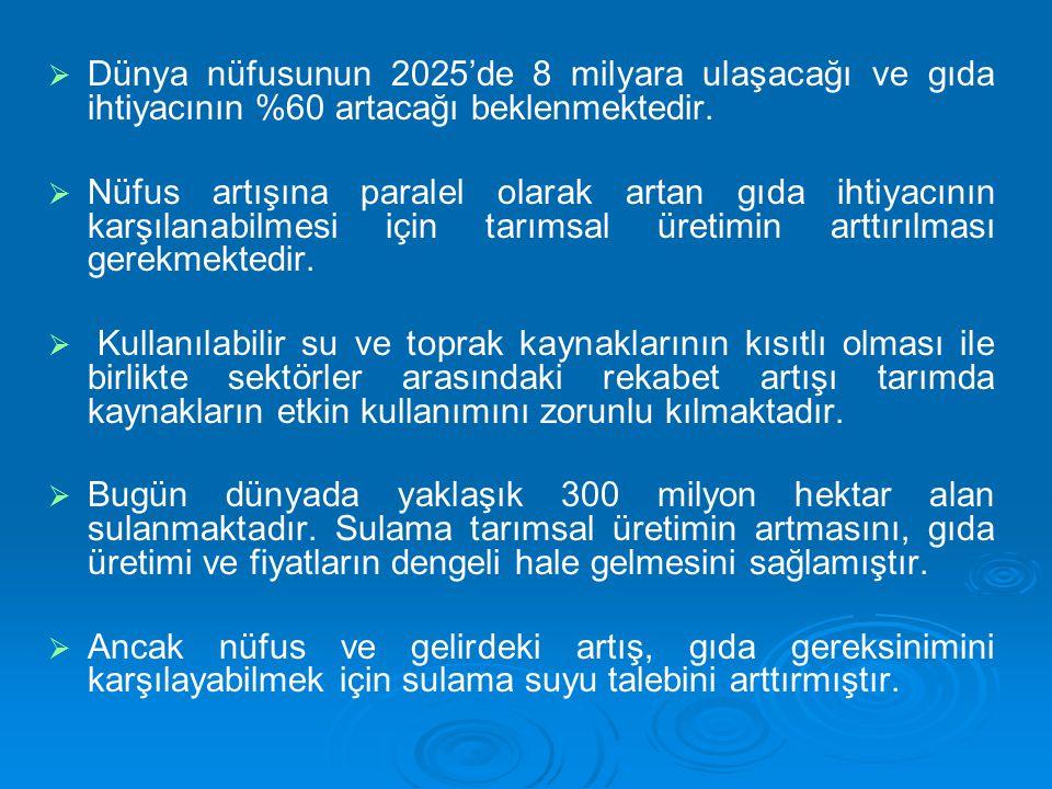  Türkiye'de ekonomik sulanabilir 8.5 milyon hektar alanın 2023 yılına kadar tümünün sulanması öngörülmektedir.