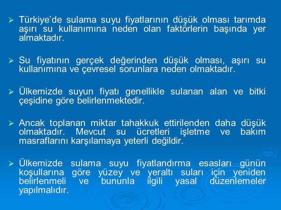   Türkiye'de sulama suyu fiyatlarının düşük olması tarımda aşırı su kullanımına neden olan faktörlerin başında yer almaktadır.   Su fiyatının gerç