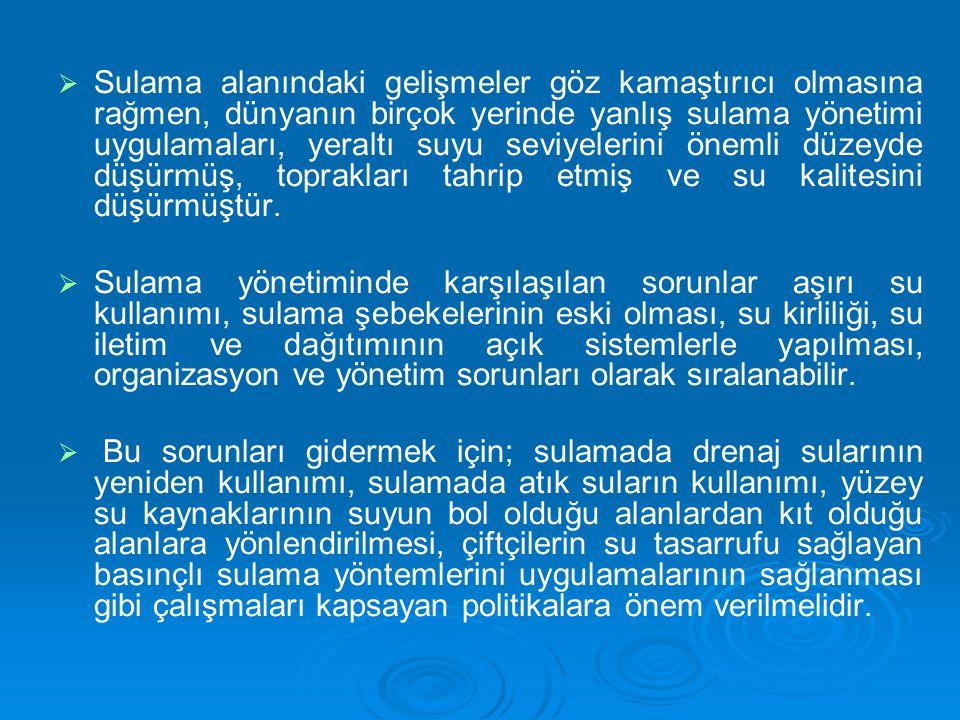 TÜRKİYE'DE SU KAYNAKLARI VE KULLANIMI   Bir ülkede, su kaynaklarının yeterli olup olmadığının en sağlıklı göstergesi yıllık yenilenebilir tatlı su miktarıdır.