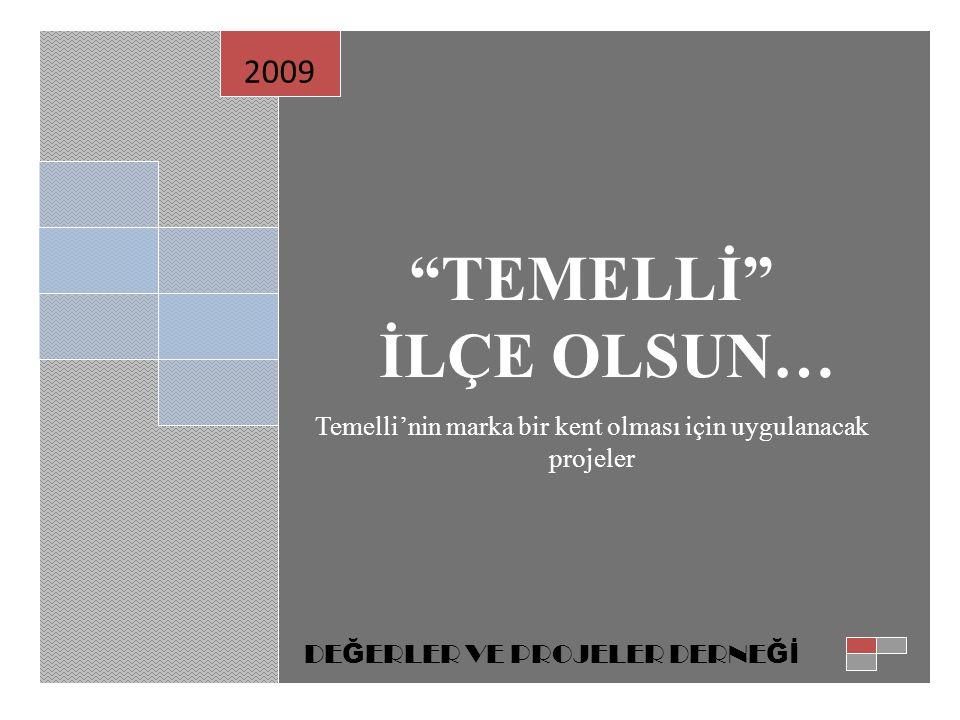 """""""TEMELLİ"""" İLÇE OLSUN… Temelli'nin marka bir kent olması için uygulanacak projeler 2009 DE Ğ ERLER VE PROJELER DERNE Ğİ"""
