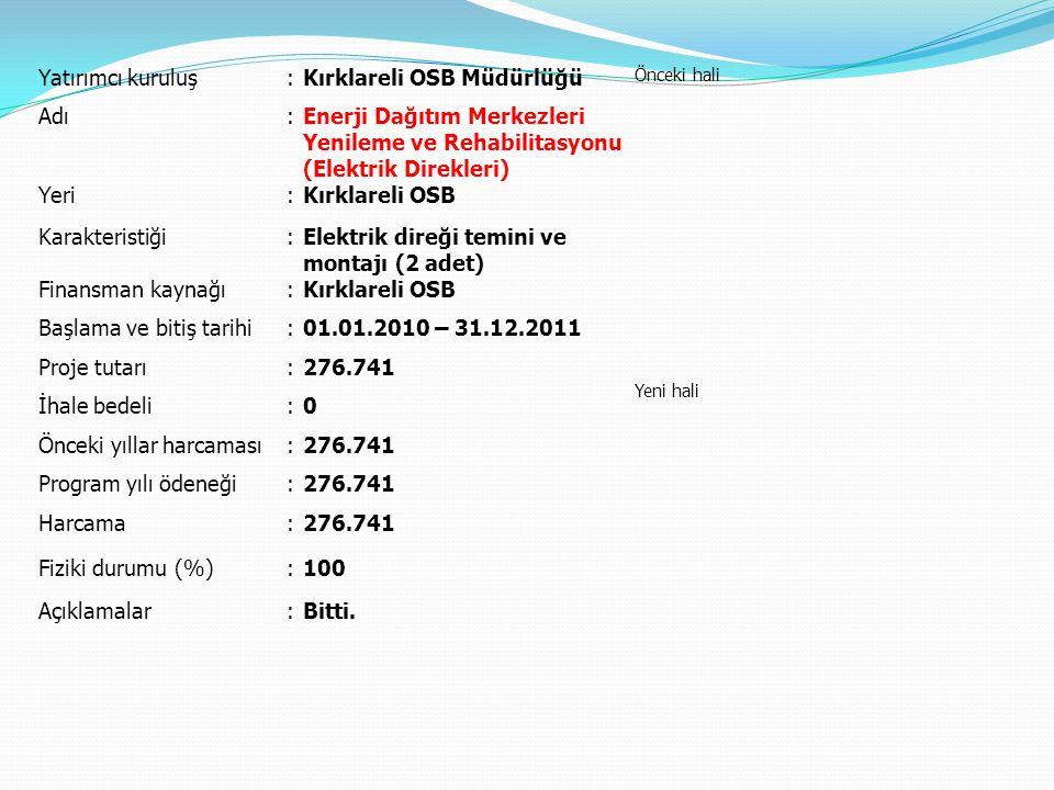 Yatırımcı kuruluş:Kırklareli OSB Müdürlüğü Önceki hali Yeni hali Adı:Enerji Dağıtım Merkezleri Yenileme ve Rehabilitasyonu (Elektrik Direkleri) Yeri:Kırklareli OSB Karakteristiği:Elektrik direği temini ve montajı (2 adet) Finansman kaynağı:Kırklareli OSB Başlama ve bitiş tarihi:01.01.2010 – 31.12.2011 Proje tutarı:276.741 İhale bedeli:0 Önceki yıllar harcaması:276.741 Program yılı ödeneği:276.741 Harcama:276.741 Fiziki durumu (%):100 Açıklamalar:Bitti.