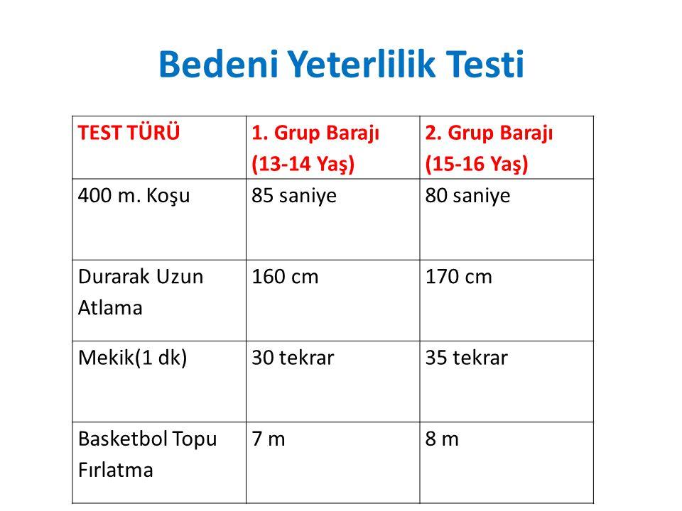 Bedeni Yeterlilik Testi TEST TÜRÜ 1. Grup Barajı (13-14 Yaş) 2. Grup Barajı (15-16 Yaş) 400 m. Koşu85 saniye80 saniye Durarak Uzun Atlama 160 cm170 cm