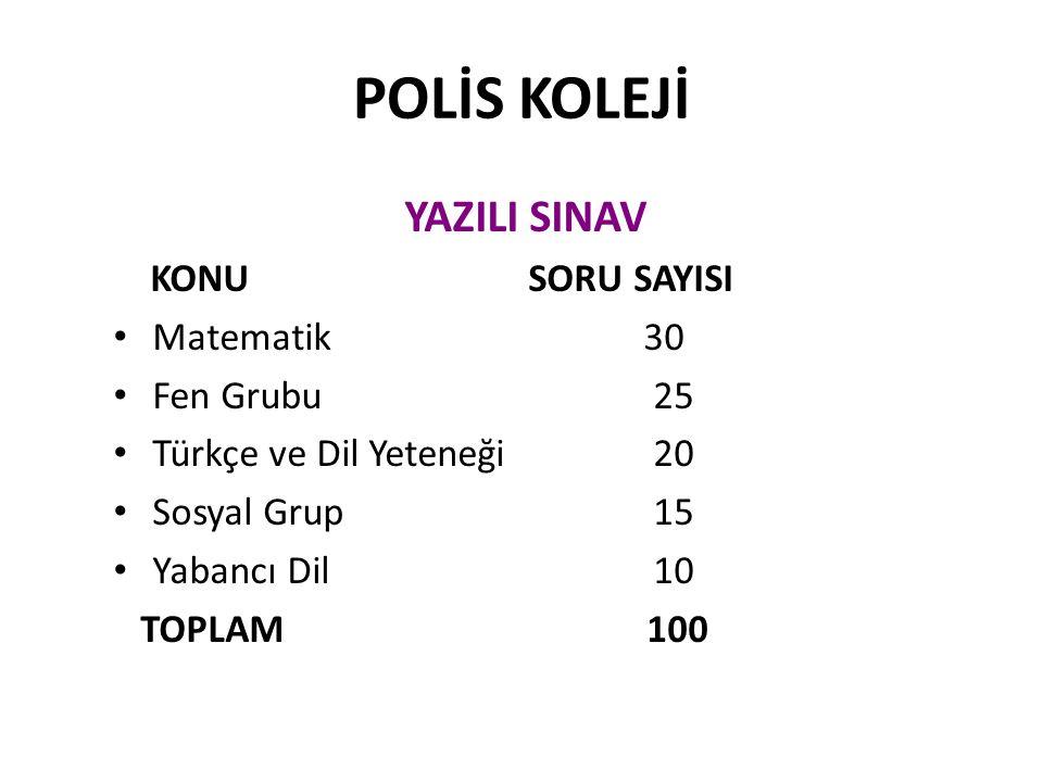POLİS KOLEJİ YAZILI SINAV KONU SORU SAYISI Matematik 30 Fen Grubu 25 Türkçe ve Dil Yeteneği 20 Sosyal Grup 15 Yabancı Dil 10 TOPLAM 100