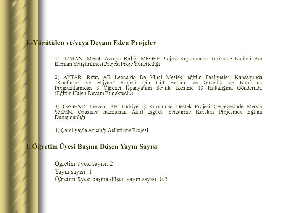 k-Yürütülen ve/veya Devam Eden Projeler 1) UZMAN. Mesut, Avrupa Birliği MEGEP Projesi Kapsamında Turizmde Kaliteli Ara Eleman Yetiştirilmesi Projesi P