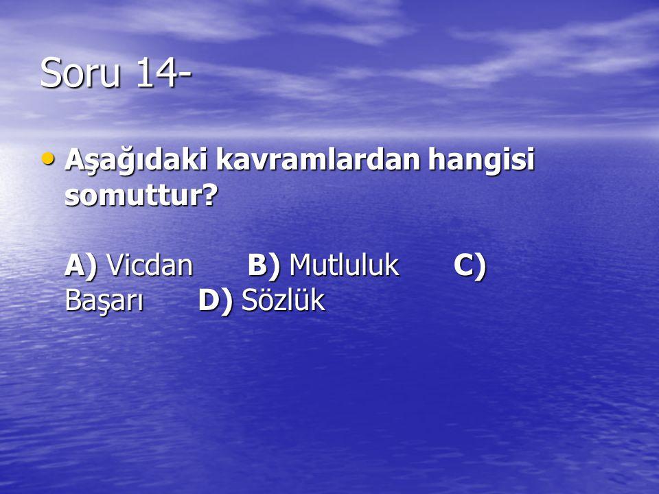 Soru 14- Aşağıdaki kavramlardan hangisi somuttur? A) Vicdan B) Mutluluk C) Başarı D) Sözlük Aşağıdaki kavramlardan hangisi somuttur? A) Vicdan B) Mutl